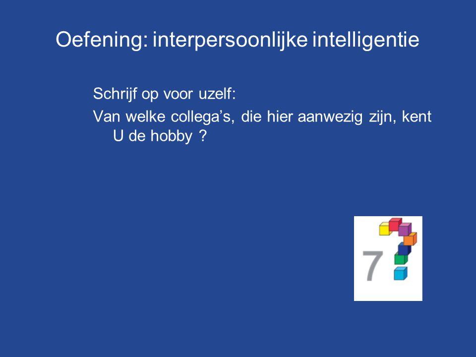 Oefening: interpersoonlijke intelligentie Schrijf op voor uzelf: Van welke collega's, die hier aanwezig zijn, kent U de hobby ?