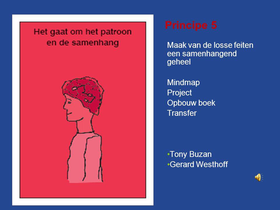 Principe 5 Maak van de losse feiten een samenhangend geheel Mindmap Project Opbouw boek Transfer Tony Buzan Gerard Westhoff