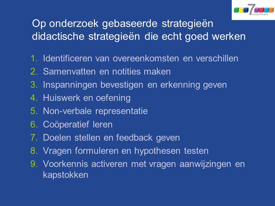 1.Identificeren van overeenkomsten en verschillen 2.Samenvatten en notities maken 3.Inspanningen bevestigen en erkenning geven 4.Huiswerk en oefening 5.Non-verbale representatie 6.Coöperatief leren 7.Doelen stellen en feedback geven 8.Vragen formuleren en hypothesen testen 9.Voorkennis activeren met vragen aanwijzingen en kapstokken Op onderzoek gebaseerde strategieën didactische strategieën die echt goed werken
