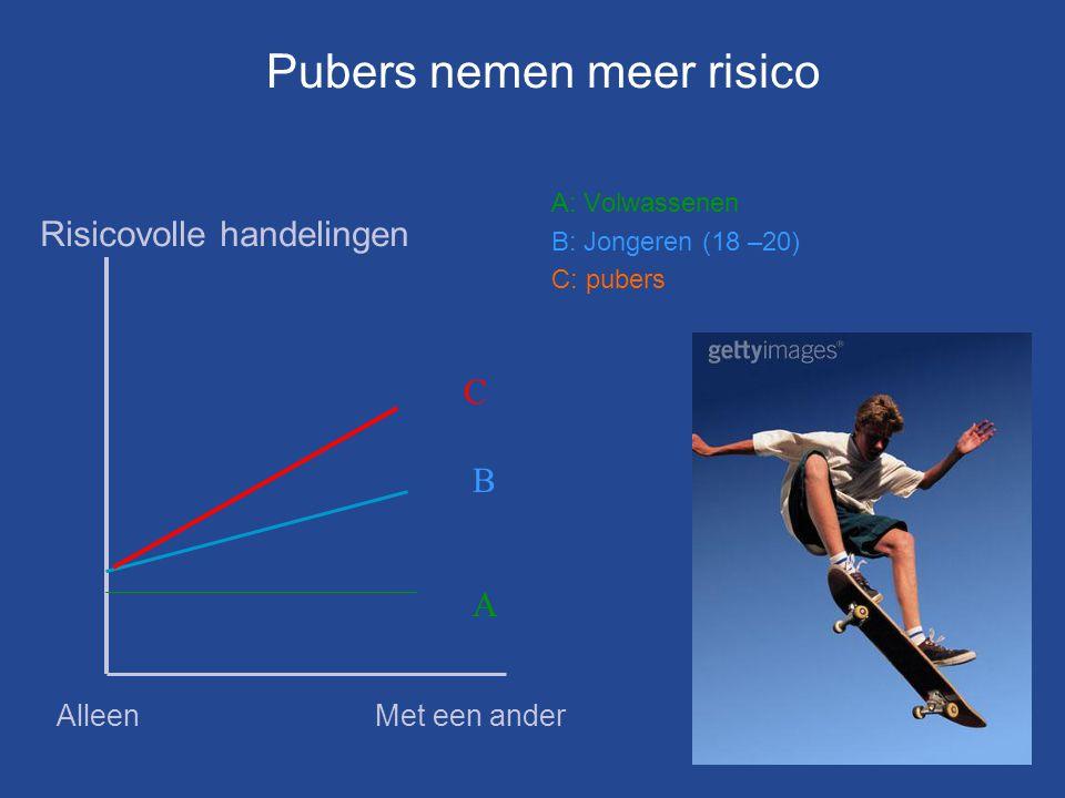 A: Volwassenen B: Jongeren (18 –20) C: pubers C B A Risicovolle handelingen AlleenMet een ander Pubers nemen meer risico