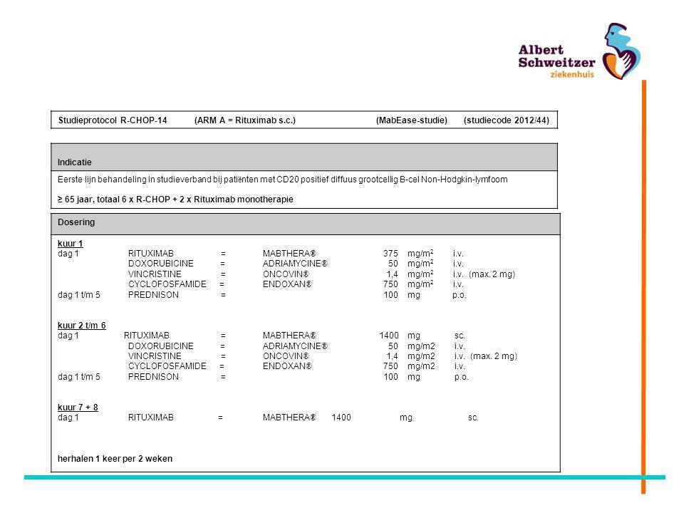 Studieprotocol R-CHOP-14 (ARM A = Rituximab s.c.) (MabEase-studie) (studiecode 2012/44) Indicatie Eerste lijn behandeling in studieverband bij pati ë