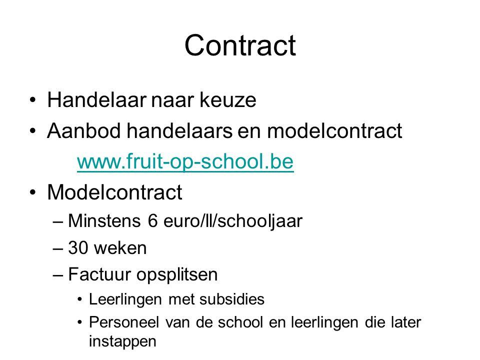 Contract Handelaar naar keuze Aanbod handelaars en modelcontract www.fruit-op-school.be Modelcontract –Minstens 6 euro/ll/schooljaar –30 weken –Factuu