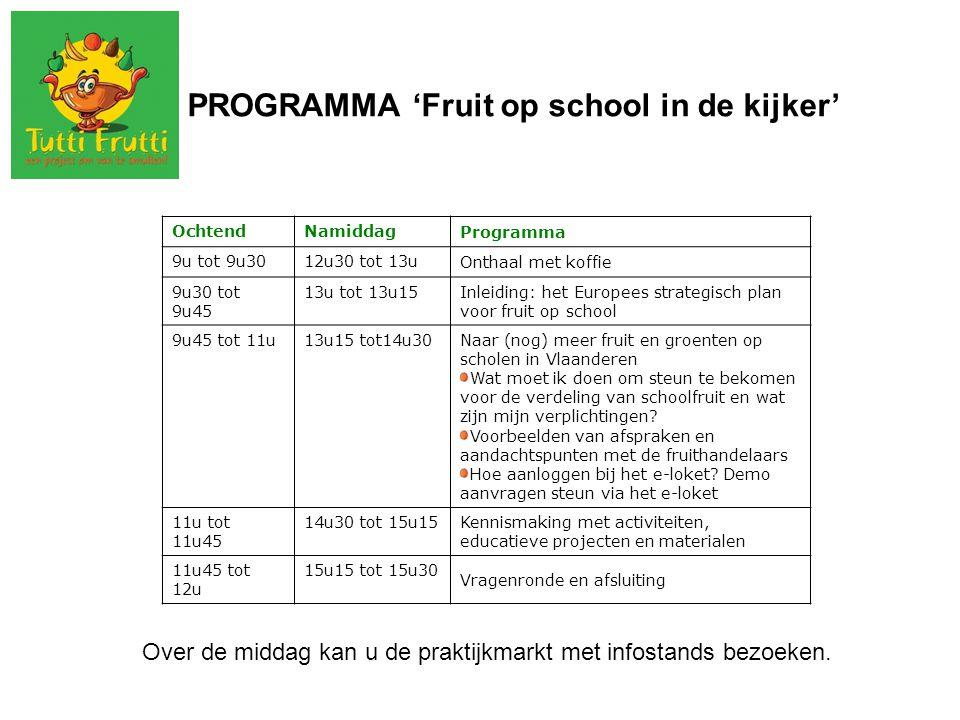 PROGRAMMA 'Fruit op school in de kijker' OchtendNamiddag Programma 9u tot 9u3012u30 tot 13u Onthaal met koffie 9u30 tot 9u45 13u tot 13u15Inleiding: h