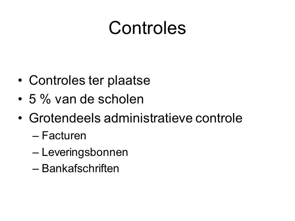 Controles Controles ter plaatse 5 % van de scholen Grotendeels administratieve controle –Facturen –Leveringsbonnen –Bankafschriften