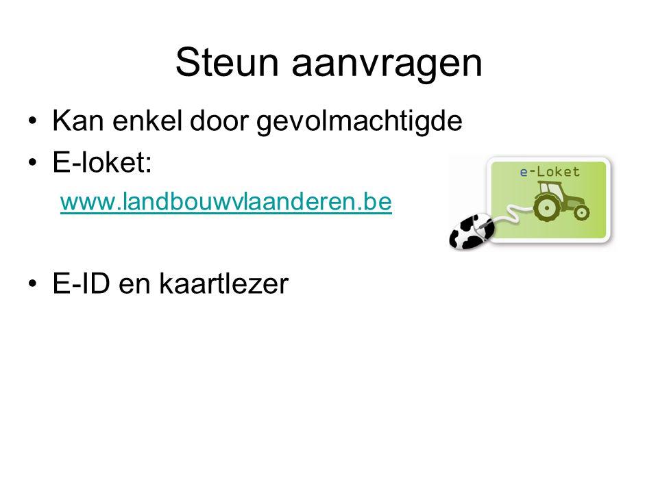 Steun aanvragen Kan enkel door gevolmachtigde E-loket: www.landbouwvlaanderen.be E-ID en kaartlezer