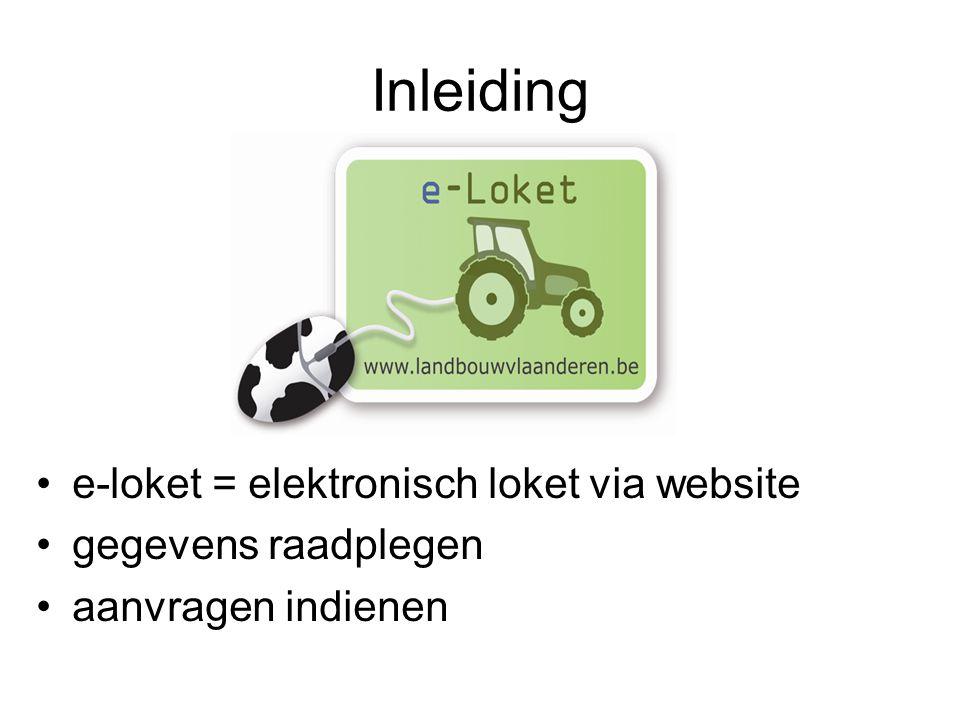 Inleiding e-loket = elektronisch loket via website gegevens raadplegen aanvragen indienen
