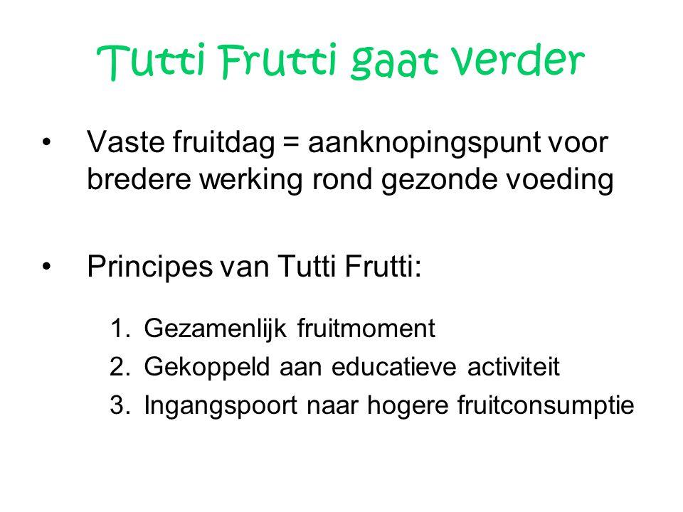 Tutti Frutti gaat verder Vaste fruitdag = aanknopingspunt voor bredere werking rond gezonde voeding Principes van Tutti Frutti: 1.Gezamenlijk fruitmom