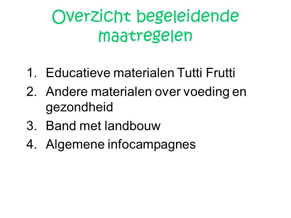Overzicht begeleidende maatregelen 1.Educatieve materialen Tutti Frutti 2.Andere materialen over voeding en gezondheid 3.Band met landbouw 4.Algemene
