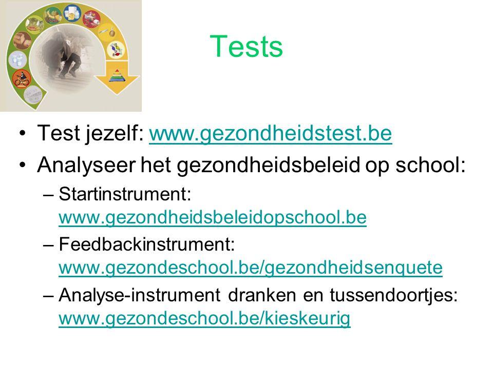 Tests Test jezelf: www.gezondheidstest.bewww.gezondheidstest.be Analyseer het gezondheidsbeleid op school: –Startinstrument: www.gezondheidsbeleidopsc