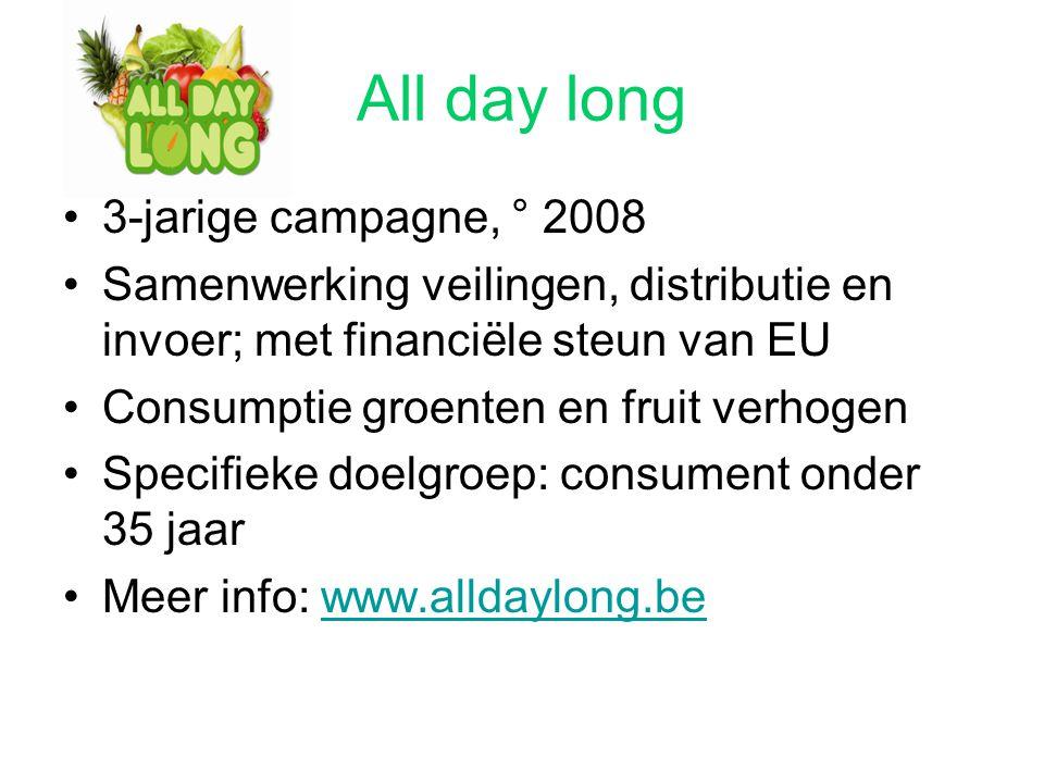 All day long 3-jarige campagne, ° 2008 Samenwerking veilingen, distributie en invoer; met financiële steun van EU Consumptie groenten en fruit verhoge
