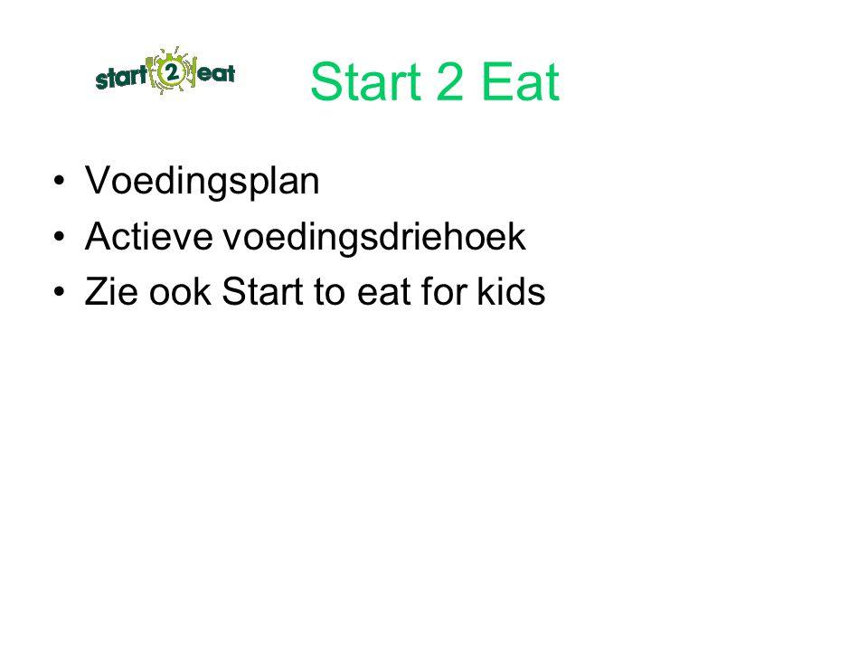 Start 2 Eat Voedingsplan Actieve voedingsdriehoek Zie ook Start to eat for kids