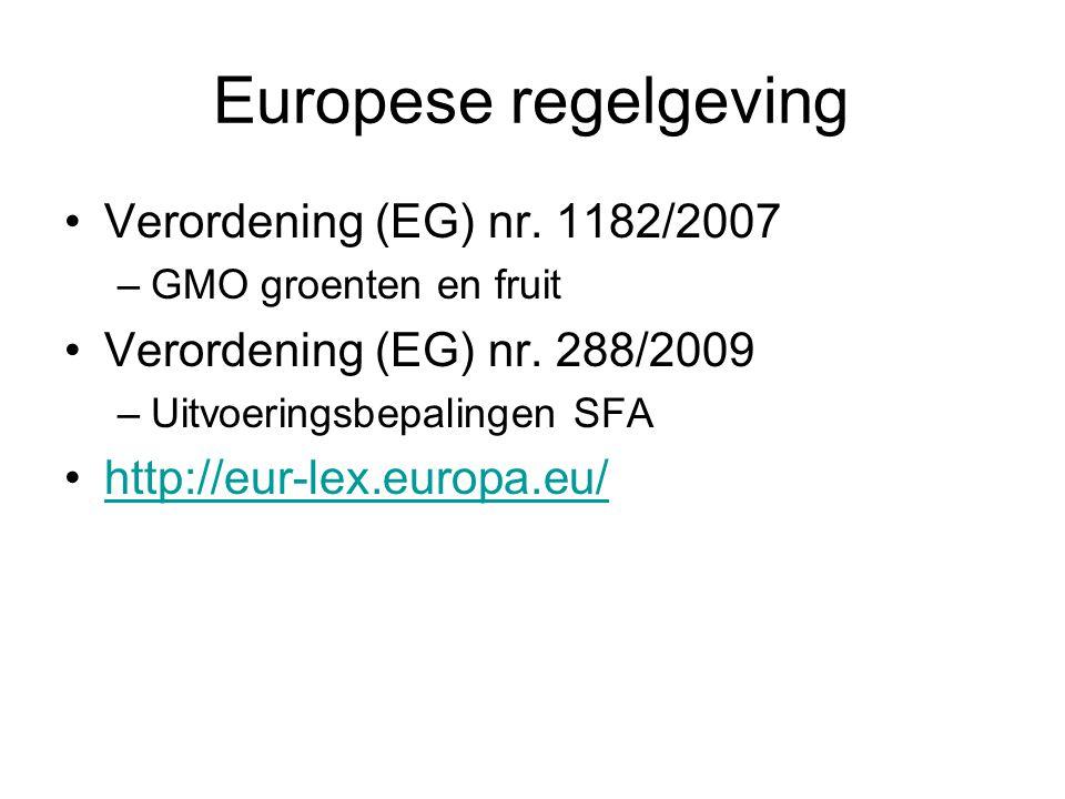 Europese regelgeving Verordening (EG) nr. 1182/2007 –GMO groenten en fruit Verordening (EG) nr. 288/2009 –Uitvoeringsbepalingen SFA http://eur-lex.eur