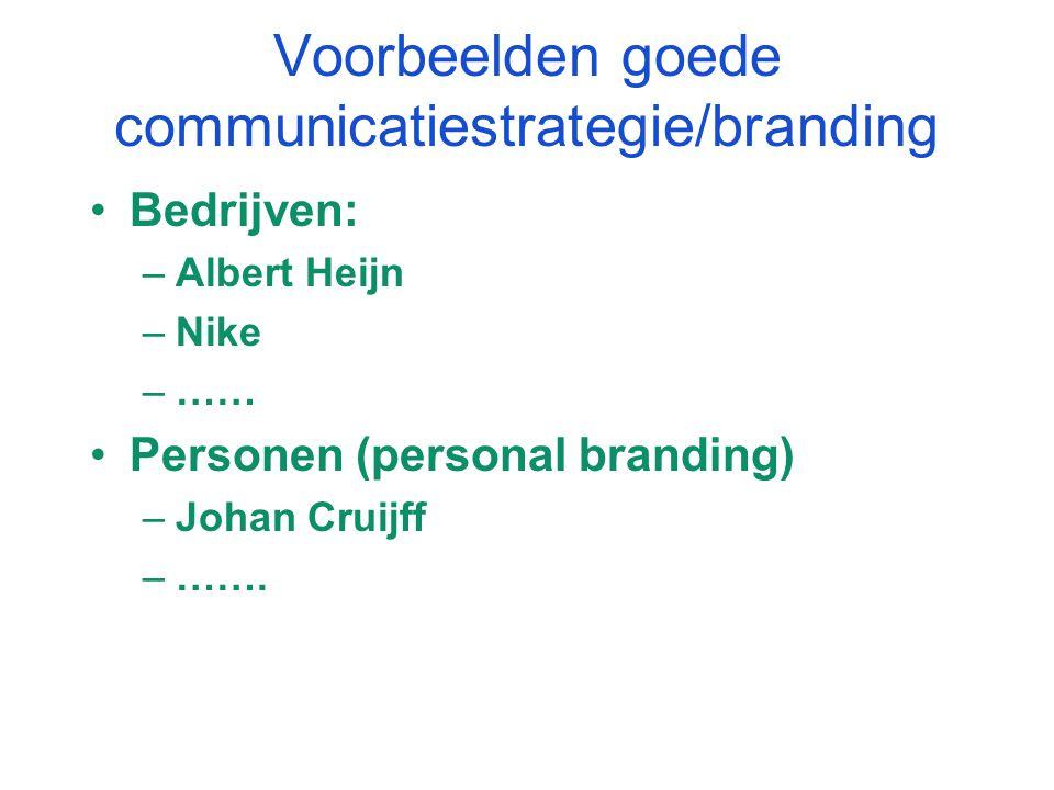 Voorbeelden goede communicatiestrategie/branding Bedrijven: –Albert Heijn –Nike –…… Personen (personal branding) –Johan Cruijff –…….