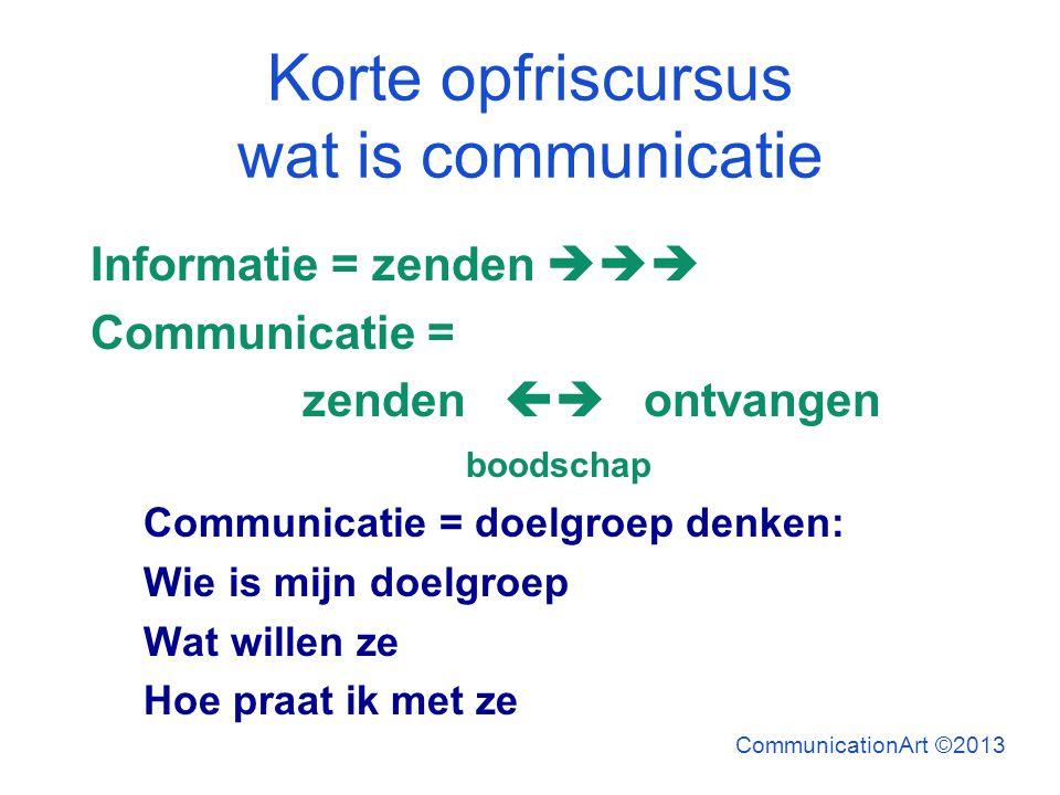 Korte opfriscursus wat is communicatie Informatie = zenden  Communicatie = zenden  ontvangen boodschap Communicatie = doelgroep denken: Wie is mi
