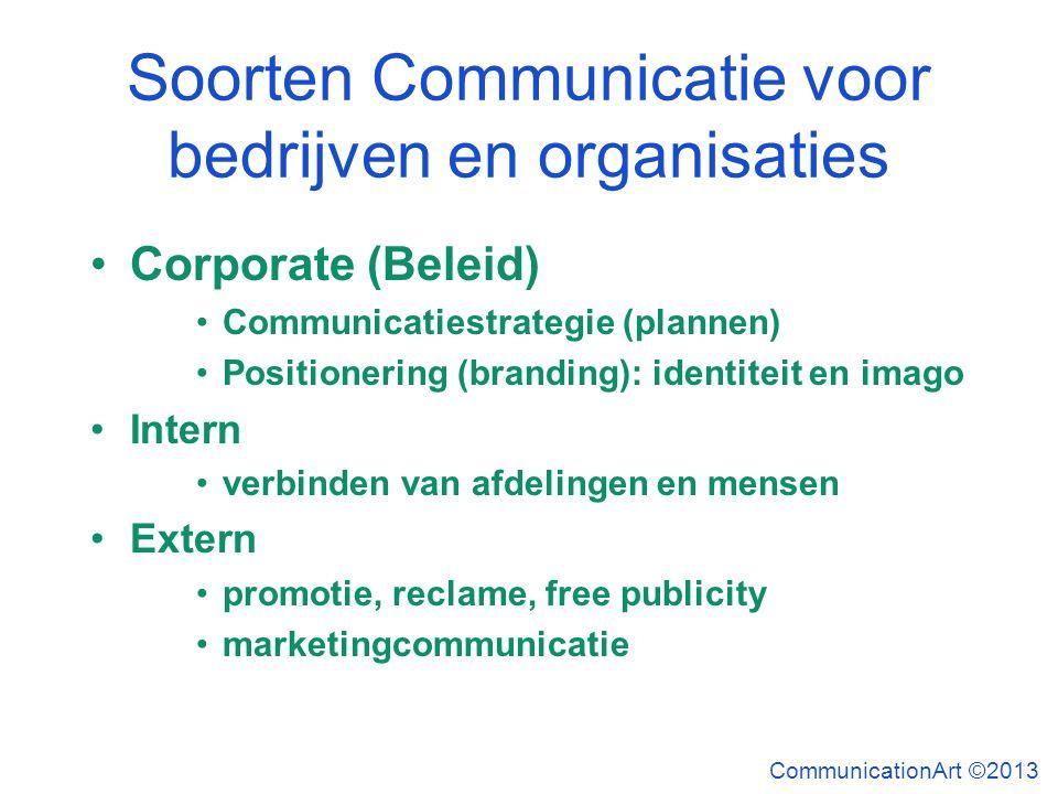 Soorten Communicatie voor bedrijven en organisaties Corporate (Beleid) Communicatiestrategie (plannen) Positionering (branding): identiteit en imago I