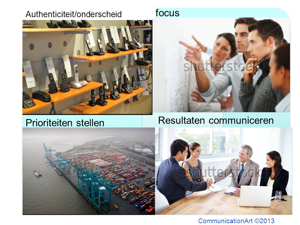 CommunicationArt ©2013 Authenticiteit/onderscheid focus Prioriteiten stellen Resultaten communiceren