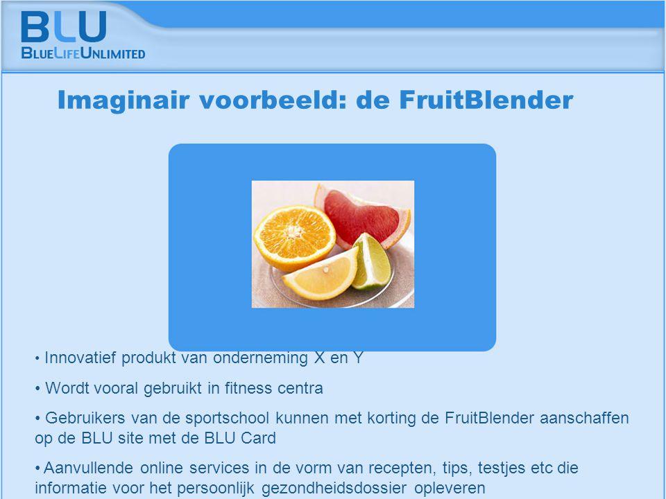 Amsterdam 9 september 2005 BLU Vision Table Innovatief produkt van onderneming X en Y Wordt vooral gebruikt in fitness centra Gebruikers van de sportschool kunnen met korting de FruitBlender aanschaffen op de BLU site met de BLU Card Aanvullende online services in de vorm van recepten, tips, testjes etc die informatie voor het persoonlijk gezondheidsdossier opleveren Imaginair voorbeeld: de FruitBlender