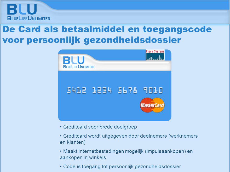 Amsterdam 9 september 2005 BLU Vision Table Creditcard voor brede doelgroep Creditcard wordt uitgegeven door deelnemers (werknemers en klanten) Maakt internetbestedingen mogelijk (impulsaankopen) en aankopen in winkels Code is toegang tot persoonlijk gezondheidsdossier De Card als betaalmiddel en toegangscode voor persoonlijk gezondheidsdossier