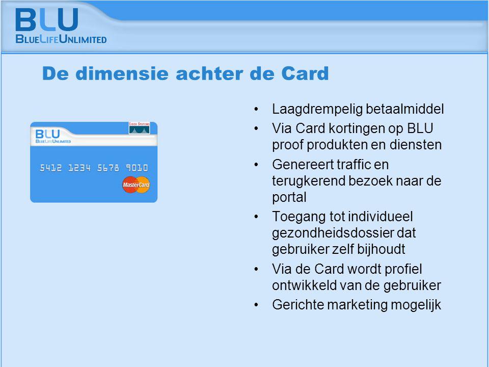 Amsterdam 9 september 2005 BLU Vision Table De dimensie achter de Card Laagdrempelig betaalmiddel Via Card kortingen op BLU proof produkten en diensten Genereert traffic en terugkerend bezoek naar de portal Toegang tot individueel gezondheidsdossier dat gebruiker zelf bijhoudt Via de Card wordt profiel ontwikkeld van de gebruiker Gerichte marketing mogelijk