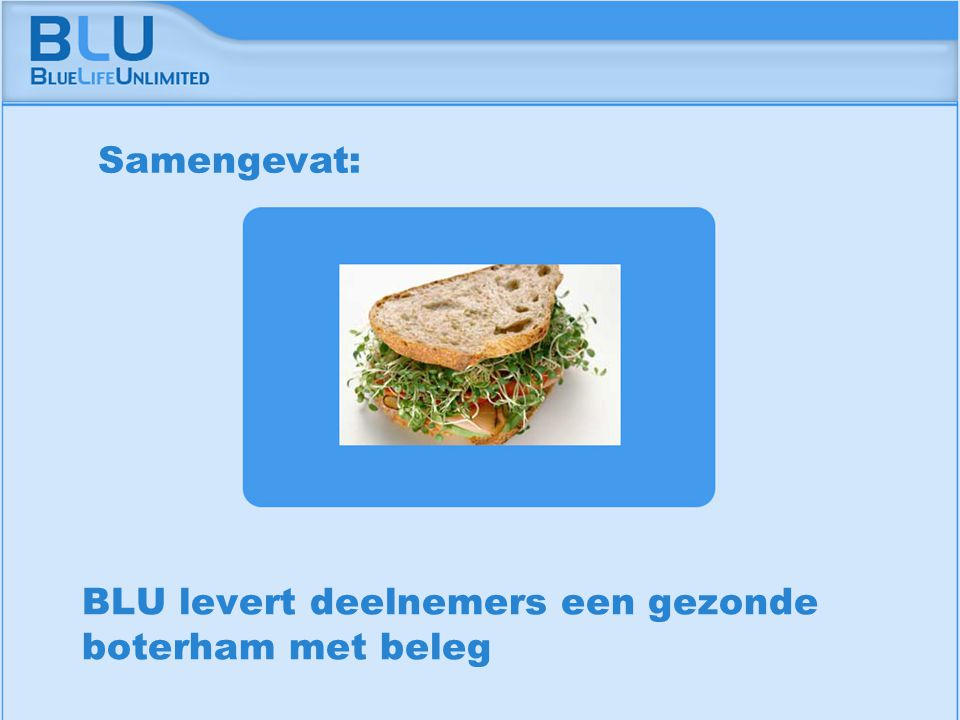 Amsterdam 9 september 2005 BLU Vision Table BLU levert deelnemers een gezonde boterham met beleg Samengevat: