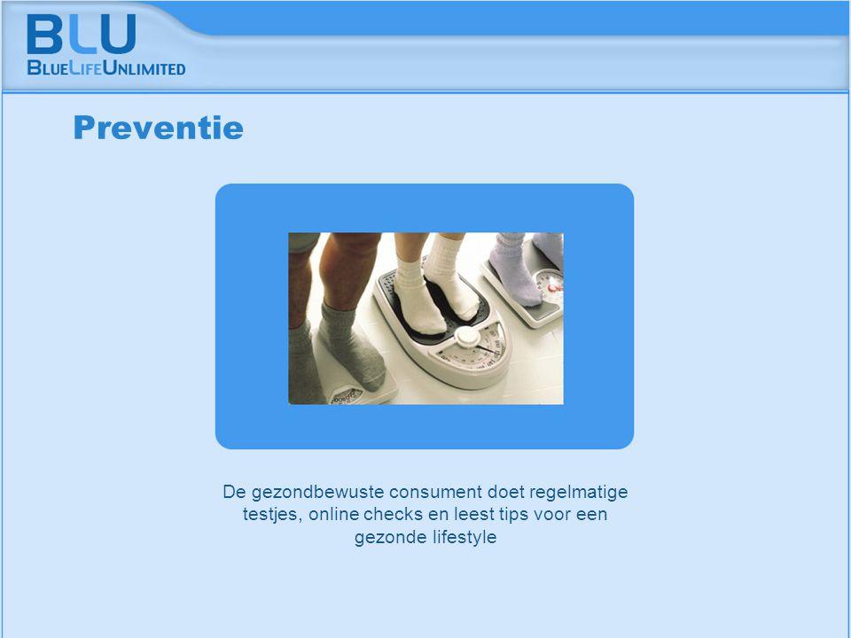 Amsterdam 9 september 2005 BLU Vision Table De gezondbewuste consument doet regelmatige testjes, online checks en leest tips voor een gezonde lifestyle Preventie