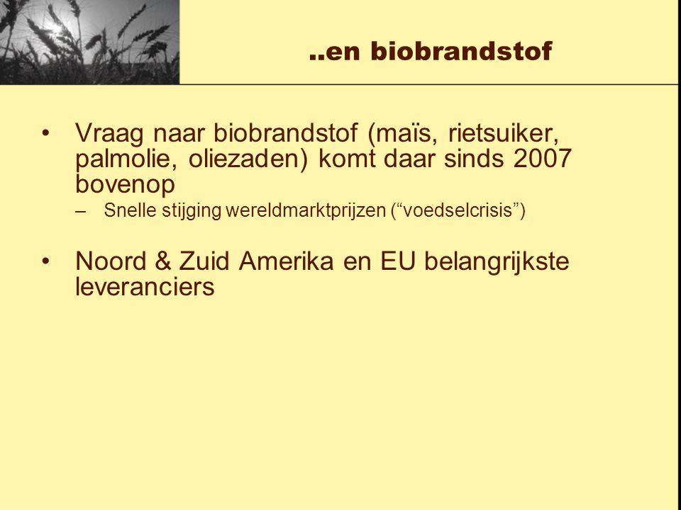 ..en biobrandstof Vraag naar biobrandstof (maïs, rietsuiker, palmolie, oliezaden) komt daar sinds 2007 bovenop –Snelle stijging wereldmarktprijzen ( voedselcrisis ) Noord & Zuid Amerika en EU belangrijkste leveranciers