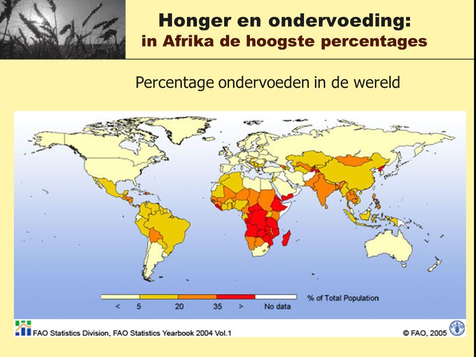 Honger en ondervoeding: in Afrika de hoogste percentages Percentage ondervoeden in de wereld