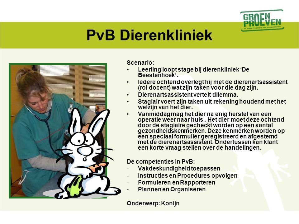 PvB Dierenkliniek Scenario: Leerling loopt stage bij dierenkliniek 'De Beestenhoek'. Iedere ochtend overlegt hij met de dierenartsassistent (rol docen