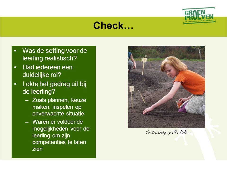 Check… Was de setting voor de leerling realistisch? Had iedereen een duidelijke rol? Lokte het gedrag uit bij de leerling? –Zoals plannen, keuze maken