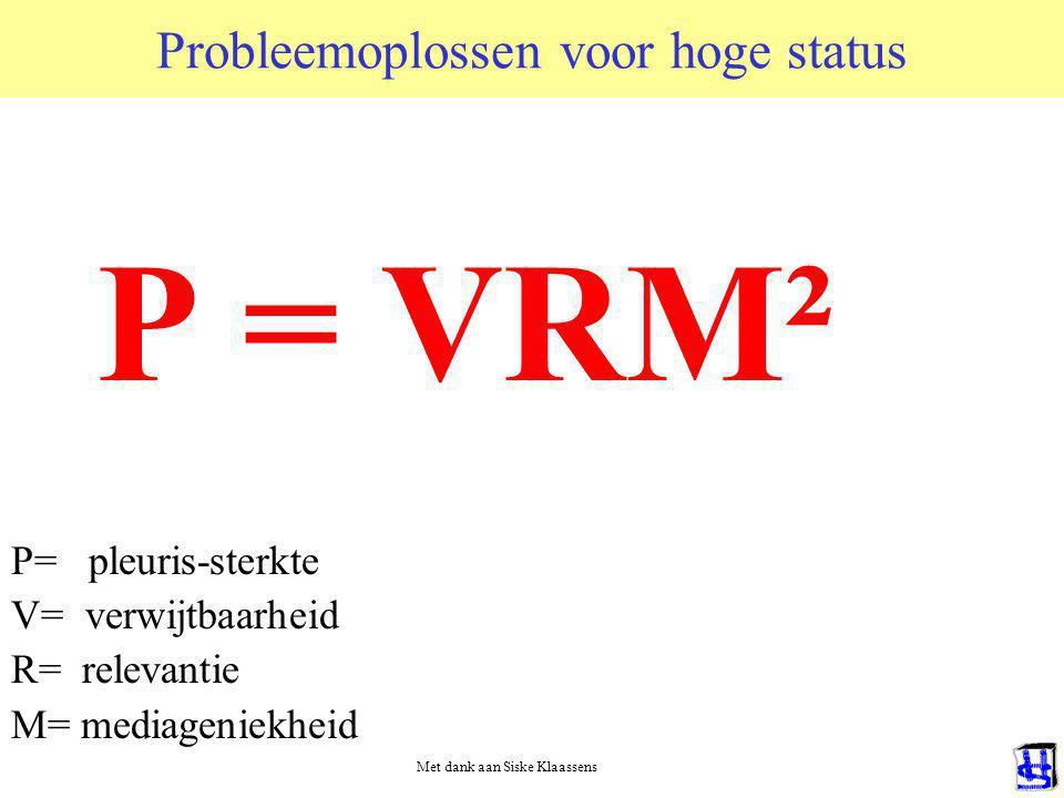 Probleemoplossen voor hoge status P = VRM² P= pleuris-sterkte V= verwijtbaarheid R= relevantie M= mediageniekheid Met dank aan Siske Klaassens