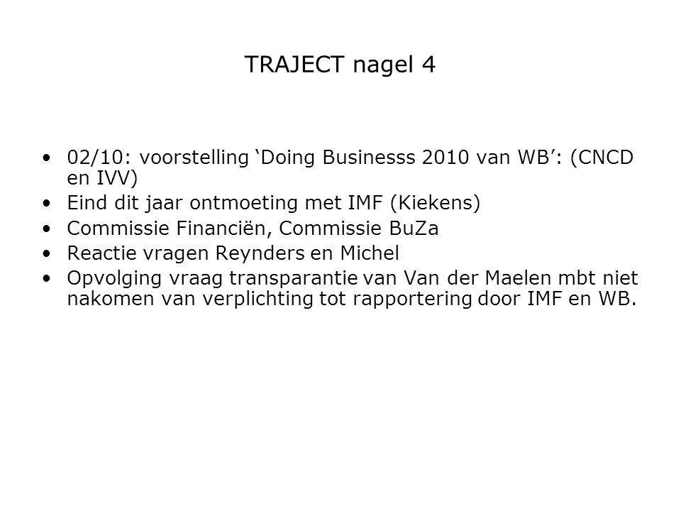 TRAJECT nagel 4 02/10: voorstelling 'Doing Businesss 2010 van WB': (CNCD en IVV) Eind dit jaar ontmoeting met IMF (Kiekens) Commissie Financiën, Commi