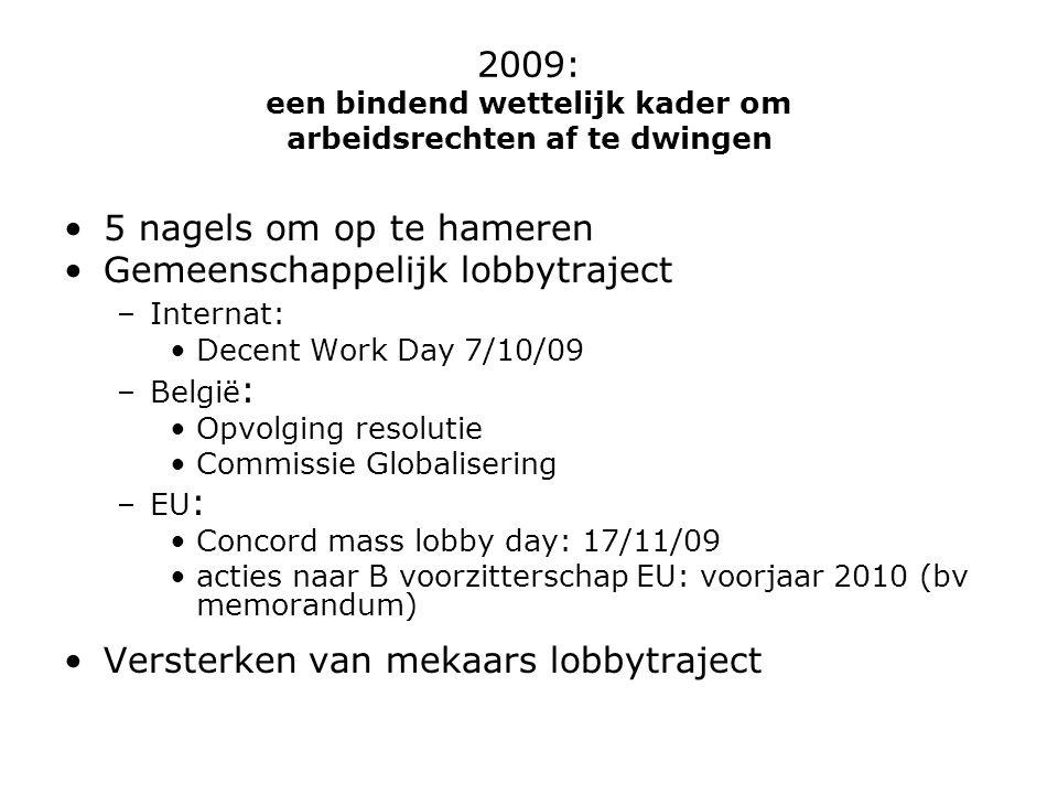 2009: een bindend wettelijk kader om arbeidsrechten af te dwingen 5 nagels om op te hameren Gemeenschappelijk lobbytraject –Internat: Decent Work Day