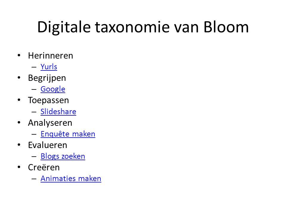 Digitale taxonomie van Bloom Herinneren – Yurls Yurls Begrijpen – Google Google Toepassen – Slideshare Slideshare Analyseren – Enquête maken Enquête maken Evalueren – Blogs zoeken Blogs zoeken Creëren – Animaties maken Animaties maken