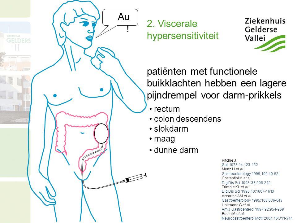 Au ! 2. Viscerale hypersensitiviteit patiënten met functionele buikklachten hebben een lagere pijndrempel voor darm-prikkels rectum colon descendens s
