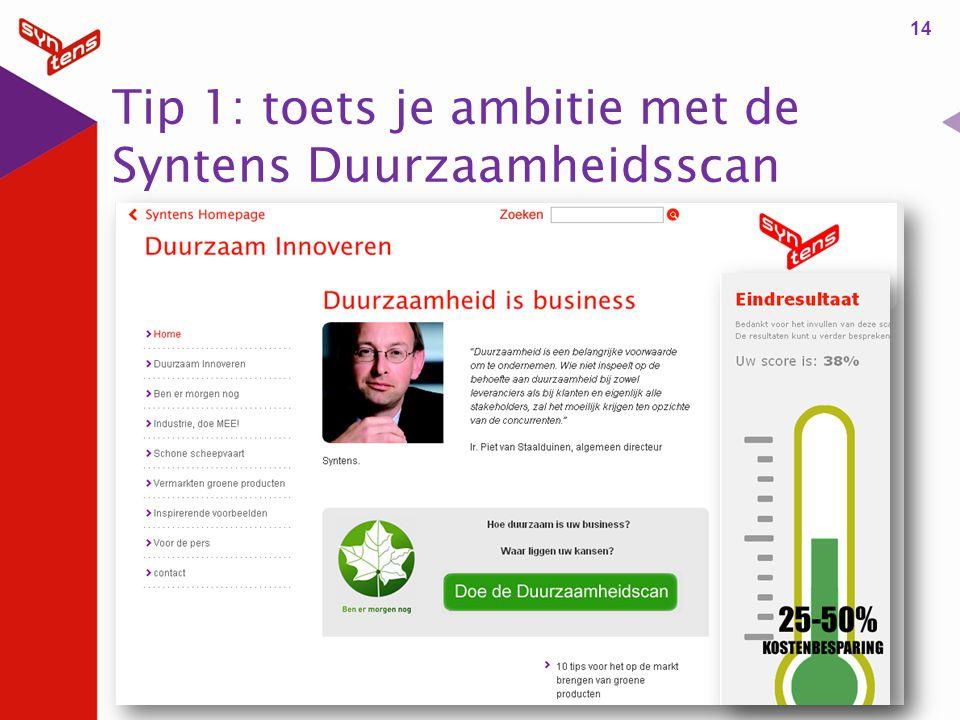 Tip 1: toets je ambitie met de Syntens Duurzaamheidsscan 14