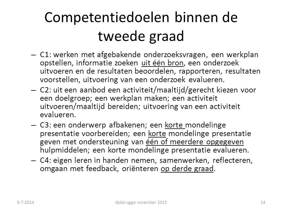 Competentiedoelen binnen de tweede graad – C1: werken met afgebakende onderzoeksvragen, een werkplan opstellen, informatie zoeken uit één bron, een onderzoek uitvoeren en de resultaten beoordelen, rapporteren, resultaten voorstellen, uitvoering van een onderzoek evalueren.