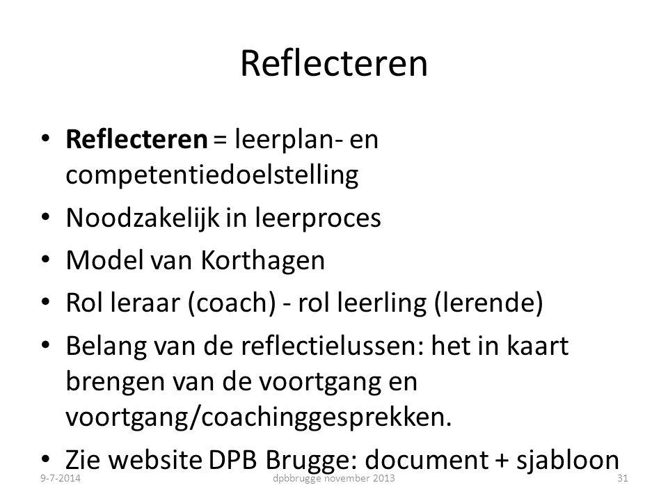 Reflecteren Reflecteren = leerplan- en competentiedoelstelling Noodzakelijk in leerproces Model van Korthagen Rol leraar (coach) - rol leerling (lerende) Belang van de reflectielussen: het in kaart brengen van de voortgang en voortgang/coachinggesprekken.