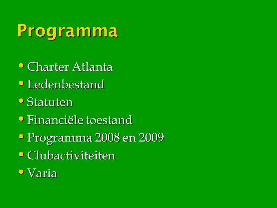 Programma Charter Atlanta Charter Atlanta Ledenbestand Ledenbestand Statuten Statuten Financiële toestand Financiële toestand Programma 2008 en 2009 P