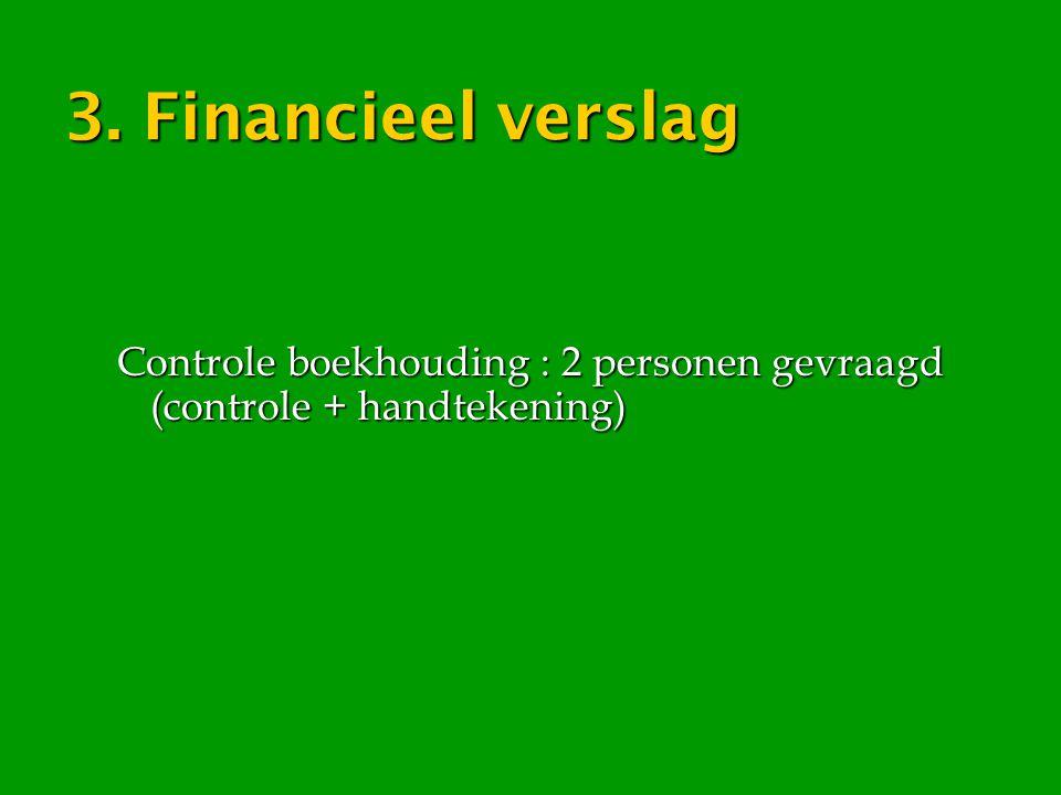 3. Financieel verslag Controle boekhouding : 2 personen gevraagd (controle + handtekening)