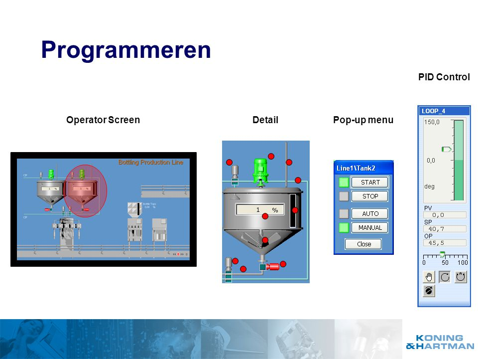 Programmeren Operator ScreenPop-up menuDetail PID Control