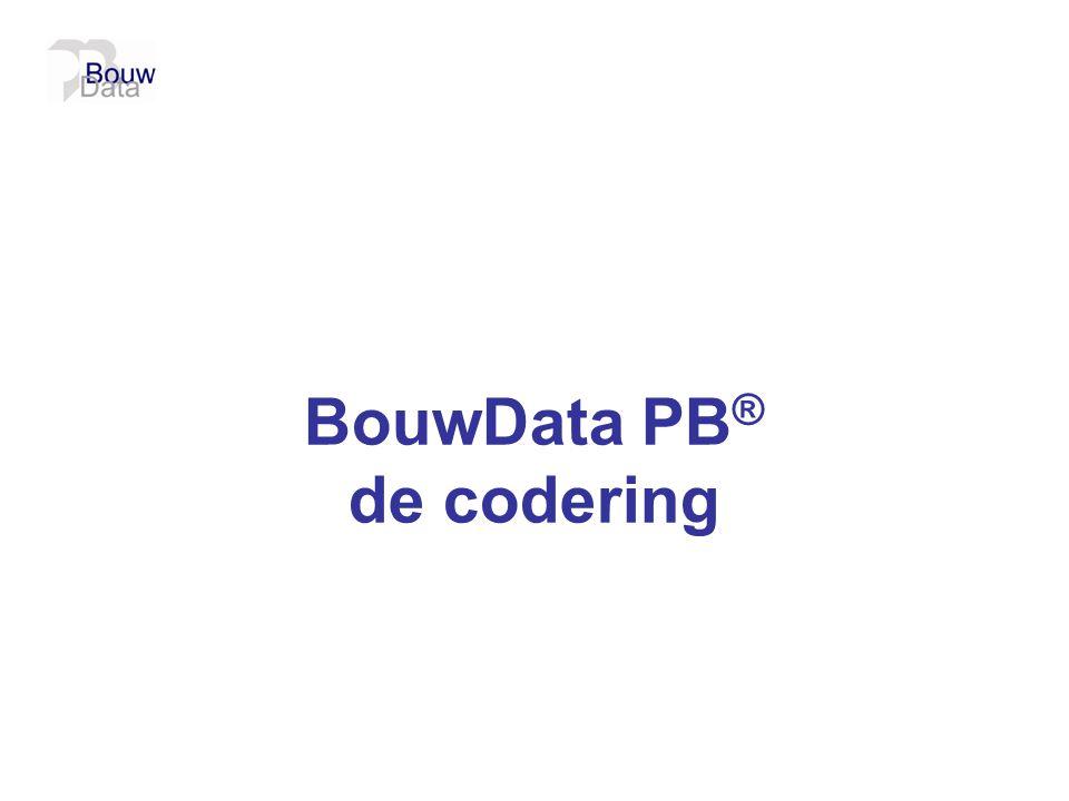 BouwData PB ® de codering