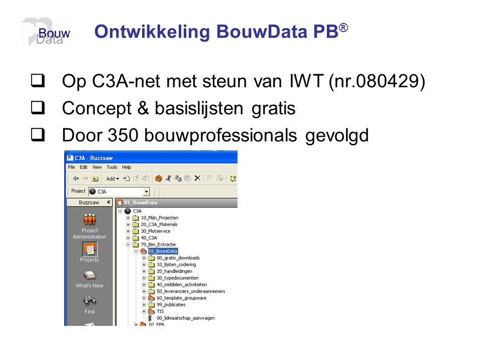 Ontwikkeling BouwData PB ®  Op C3A-net met steun van IWT (nr.080429)  Concept & basislijsten gratis  Door 350 bouwprofessionals gevolgd