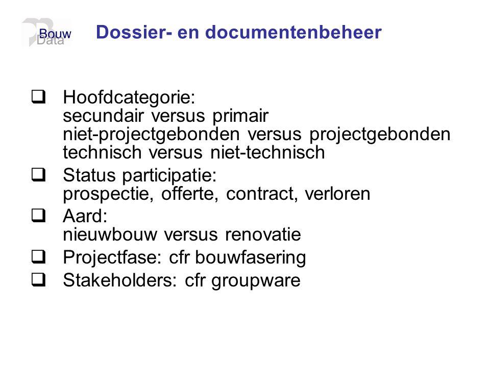 Dossier- en documentenbeheer  Hoofdcategorie: secundair versus primair niet-projectgebonden versus projectgebonden technisch versus niet-technisch 