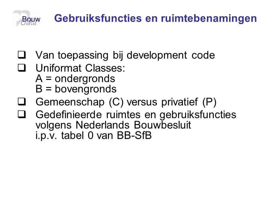 Gebruiksfuncties en ruimtebenamingen  Van toepassing bij development code  Uniformat Classes: A = ondergronds B = bovengronds  Gemeenschap (C) vers