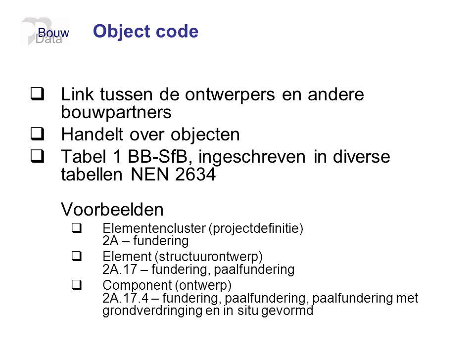 Object code  Link tussen de ontwerpers en andere bouwpartners  Handelt over objecten  Tabel 1 BB-SfB, ingeschreven in diverse tabellen NEN 2634 Voo