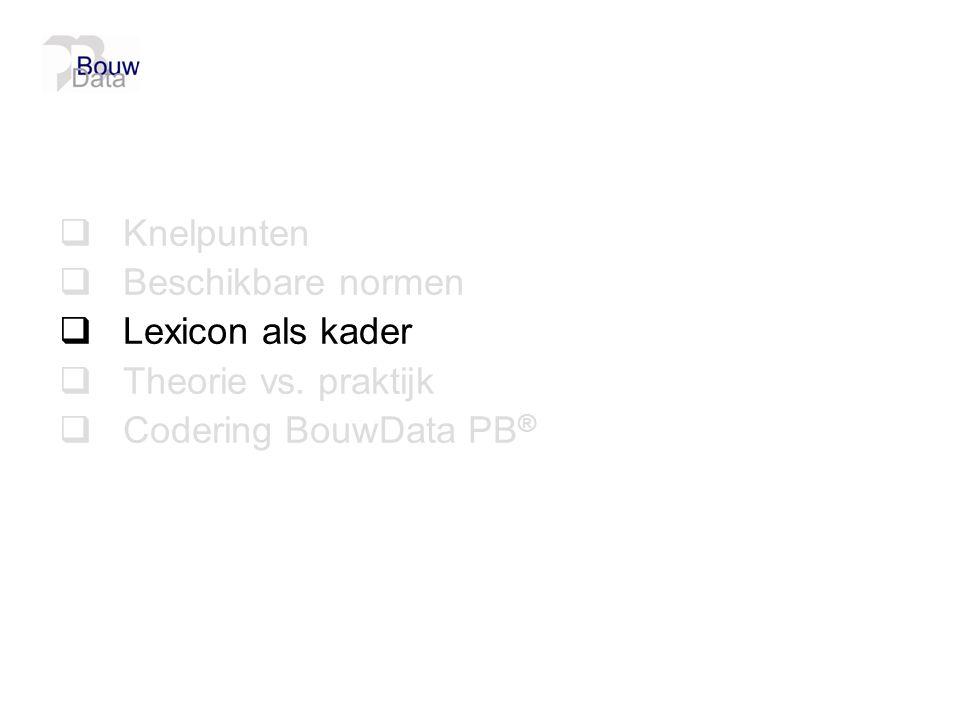 Gebruiksfuncties en ruimtebenamingen  Van toepassing bij development code  Uniformat Classes: A = ondergronds B = bovengronds  Gemeenschap (C) versus privatief (P)  Gedefinieerde ruimtes en gebruiksfuncties volgens Nederlands Bouwbesluit i.p.v.