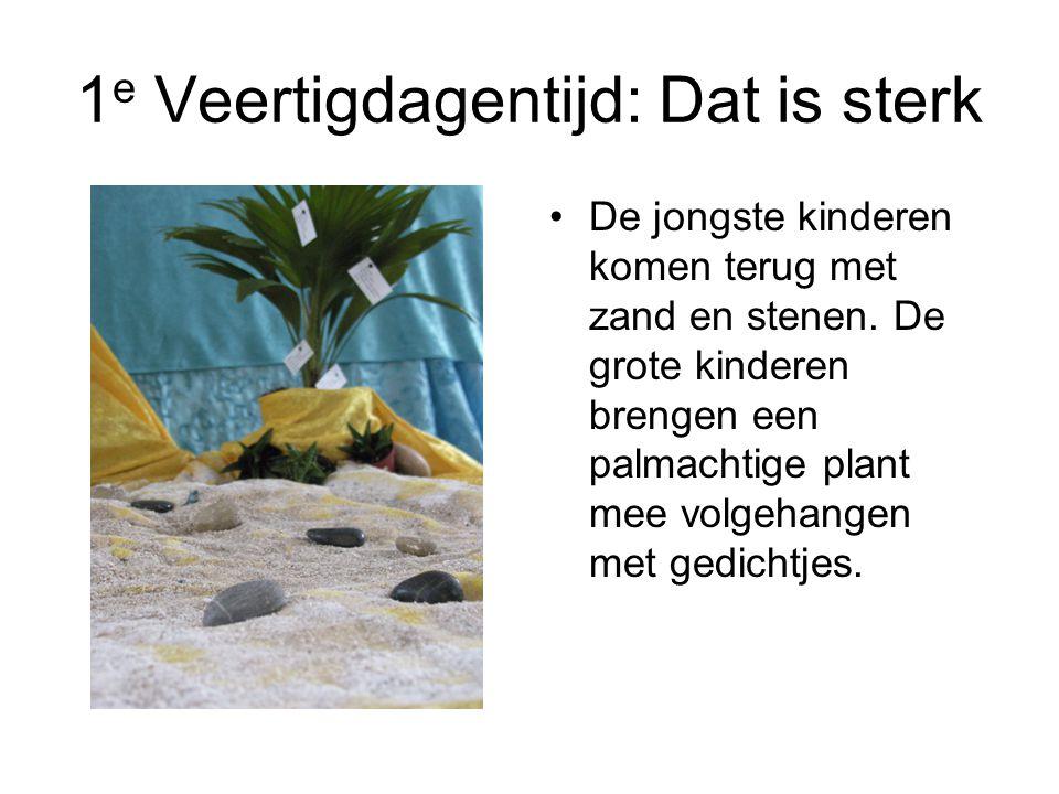 1 e Veertigdagentijd: Dat is sterk De jongste kinderen komen terug met zand en stenen. De grote kinderen brengen een palmachtige plant mee volgehangen