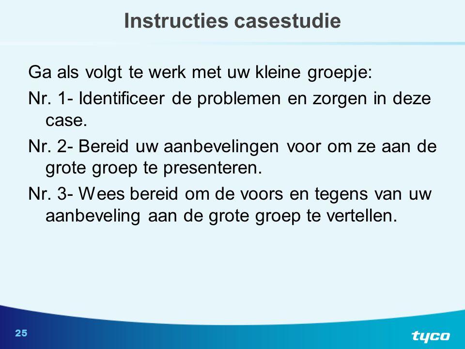 25 Instructies casestudie Ga als volgt te werk met uw kleine groepje: Nr.