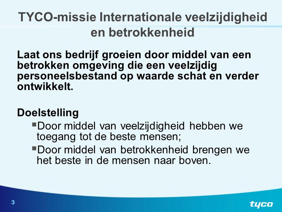 3 TYCO-missie Internationale veelzijdigheid en betrokkenheid Laat ons bedrijf groeien door middel van een betrokken omgeving die een veelzijdig personeelsbestand op waarde schat en verder ontwikkelt.