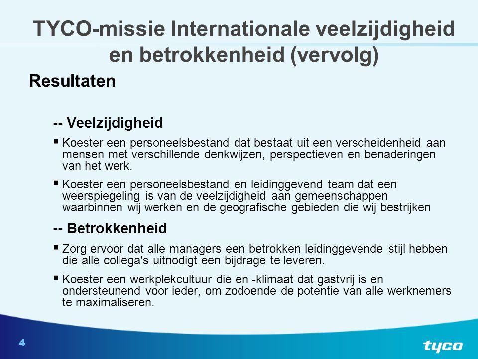 4 TYCO-missie Internationale veelzijdigheid en betrokkenheid (vervolg) Resultaten -- Veelzijdigheid  Koester een personeelsbestand dat bestaat uit een verscheidenheid aan mensen met verschillende denkwijzen, perspectieven en benaderingen van het werk.